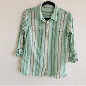 Toad & Co Airbrush Button Down Shirt Size S green